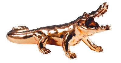 Richard Orlinski, 'Crocodile Chrome Resin Gold'