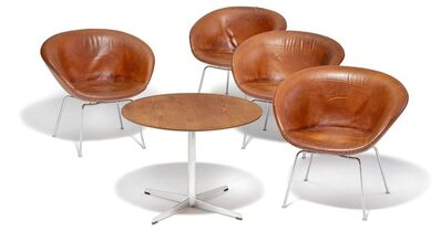 "Arne Jacobsen, 'Set of four ""The Pot"" armchairs with a matching coffee table, steel frames.'"