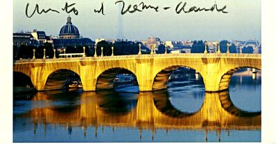 Christo and Jeanne-Claude, 'The Pont Neuf Wrapped IV (Hand Signed) Rare vintage card from the Estate of UACC President Cordelia Platt', 1985