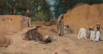 Charles James Theriat, 'Figures Resting in a Dusty Street', 1890
