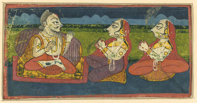India, Rajasthan, 'Two Ladies Visiting a Priest', 19th century