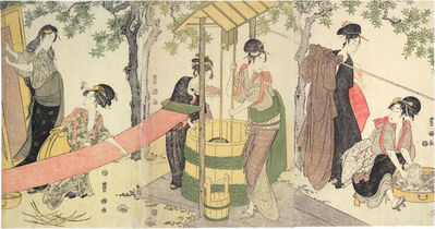 Utagawa Toyokuni I, 'Women Washing and Stretching Cloth', ca. 1795