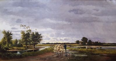 Henrietta S. Quincy, 'Shepherd with Sheep Pastoral Landscape', ca. 1880