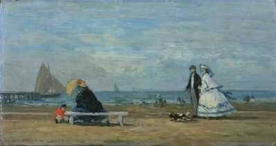 Eugène Boudin, 'Beach at Trouville', 1863