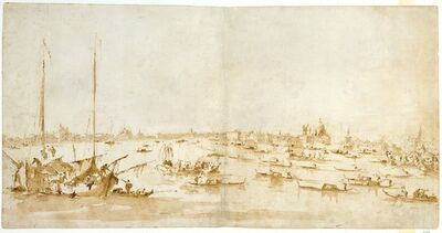 Francesco Guardi, 'Panaromic View of the Bacino di San Marco, Looking up the Giudecca Canal', 1780–1793