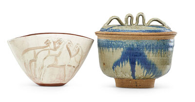 Betty Woodman, 'Lidded vessel by Woodman and folded bowl with horses by Pillin'