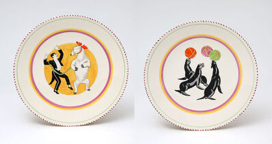 Dame Laura Knight DBE RA RWS, 'Two Circus Plates from Clarice Cliff's Bizarre range. Dancing Bear and Circus Sea Lions', 1937