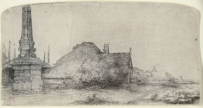 Rembrandt van Rijn, 'COTTAGE AND OBELISK ON THE SPAARNDAMMERDIJK', ca. 1650