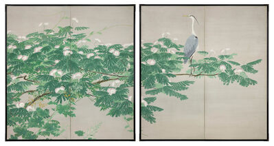 Saki Takashi, 'Folding Screen, Heron in Rain, (T-3994)', ac. Showa era