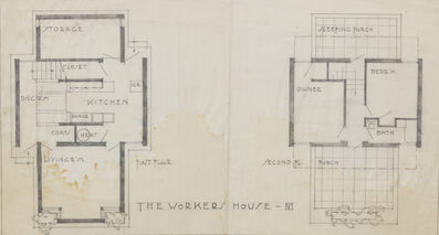 Rudolph Schindler, 'Plan View; Standard Housing Unit, The Monolith Homes for Thomas R. Hardy, Racine, WI (While working in the office of Frank Lloyd Wright, Chicago, IL)', 1919