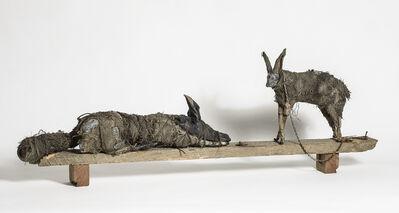 Elizabeth Jordan, 'Sculpture of Rabbit and Dog on wood block, earth tone: 'Sisters'', 2014