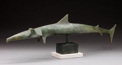 """Wayne Salge, '""""Garfish"""" Stylized Angular Sculpture of Predatory Pelagic Fish with Green Patina', 2010-2019"""