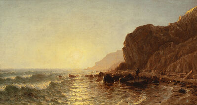 Sanford Robinson Gifford, 'Study for 'Sunset on the Shore of No Man's Land–Bass Fishing'', 1877