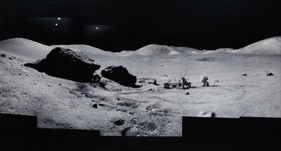 """Michael Light, 'Composite of Eugene Cernan and the Lunar Rover at """"Split Rock"""", Photographed by Harrison Scmitt, Apollo 17, December 7-19, 1972, from the project Full Moon', Conceived in 1999 and printed in 2002"""