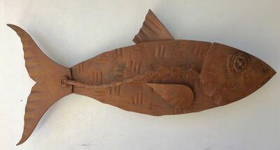"Hugh Holborn, '""Albulidae #5"" forged salvage steel fish wall sculpture', 2019"