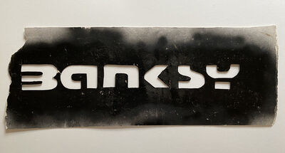 Banksy, 'Huge original Banksy Tag and scissor stencil (cut it out) 74 cm', ca. 2002