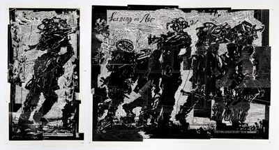 William Kentridge, 'Refugees (1 God's Opinion is Unknown; 2 Leaning on Air) Diptych', 2018-2019
