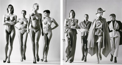 Helmut Newton, 'Sie Kommen (Dressed and Undressed) signed', 1981