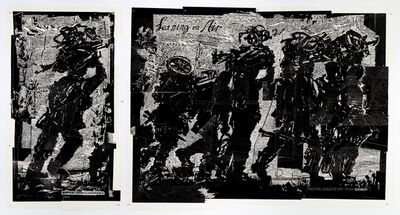 William Kentridge, 'Refugees (1 God's Opinion is Unknown; 2 Leaning on Air)', 2018-2019