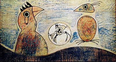 Max Ernst, 'Oiseaux (ochre background)', 1970