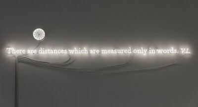 Joseph Kosuth, ''Existential time #03' / There are distances which are measured only in words. V.L.', 2019