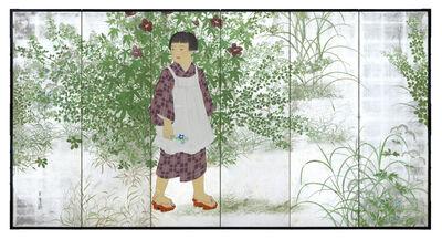 Kono Yoshimine (Bihō), 'Folding Screen, Young Girl with Autumn Plants (T-3771)', 1930s
