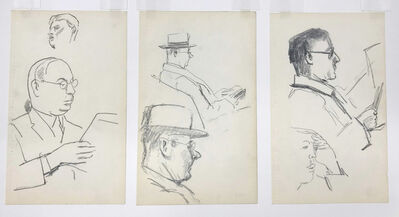 Julius Bloch, 'Studies of Men Reading (three works)', 1929