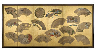 Kano Toshinobu, 'Folding Screen, Fans (T-3249)', Edo period (1615, 1868), 19th century
