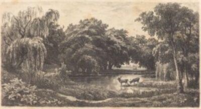 Charles François Daubigny, 'Pool with Deer (La Mare aux cerfs)', 1845