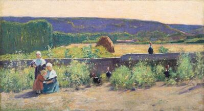 Theodore Wendel, 'Turkeys on a Wall, Giverny', 1887-1888