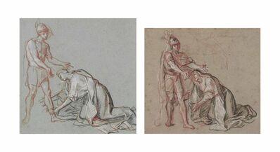 Antoine Coypel, 'Studies of a woman kneeling at the feet of a soldier'