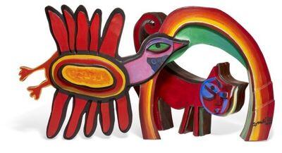 Guillaume Corneille, 'Bird, cat and rainbow decorative sculpture'