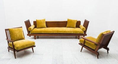 George Nakashima, 'nique Suite of Black Walnut Furniture including Sofa and Pair of Low Chairs', 1952