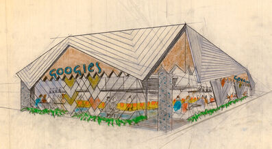 Louis Armét, Eldon Davis, 'Googies Coffee Shop, Perspective View, Architects Armét & Davis A. I. A. Architects', ca. 1960