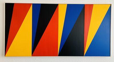 Max Bill, 'vier dreiteilige zonen, vier gleiche farbquanten', 1973