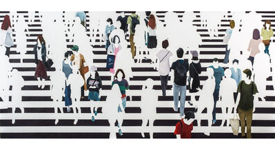 "Martta García Ramo, '""Paralelos y Meridianos"" oil painting of pedestrians walking on a black and white crosswalk', 2019"