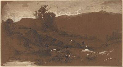 William M. Hart, 'Figures in a Landscape', 1860