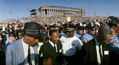 Art Shay, 'Martin Luther King Jr. leaving Soldier Field headed to put his Thesis up on City Hall, Freedom March and Rally', 1966