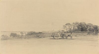Eugène Boudin, 'L'Ile aux Moines with Figure and Cart', ca. 1858