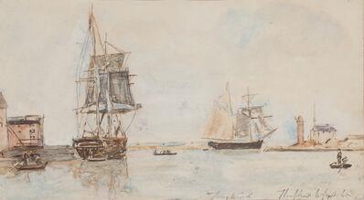Johan Barthold Jongkind, 'Voiliers à l'entrée du port de Honfleur', 1865
