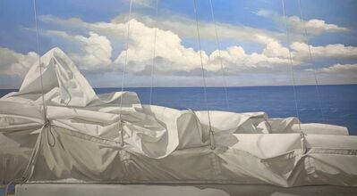 "Michel Brosseau, '""Below the Clouds"" oil painting of rolled sail with oceans and cloudy sky behind', 2020"