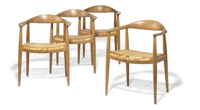 Hans Jørgensen Wegner, 'The Chair. A set of four solid oak armchairs. Seats with woven cane.'