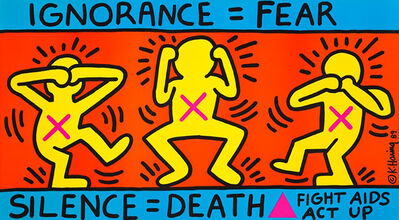 Keith Haring, 'Keith Haring Ignorance = Fear 1989 (Keith Haring ACT UP)', 1989