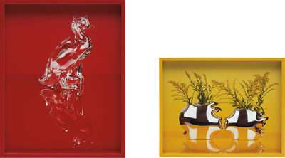 Elad Lassry, 'Two Works: (i) Cat and Duck (Red); (ii) Sterling Silver Vases', 2011