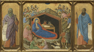 Duccio, 'The Nativity with the Prophets Isaiah and Ezekiel', ca. 1308-11