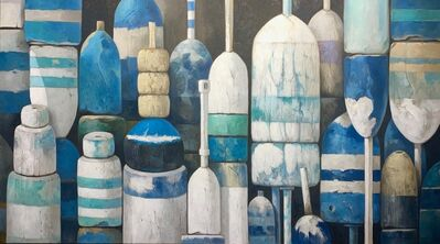 "Michel Brosseau, '""Classic Blues"" oil painting of lined up buoys in shades of blue and white', 2020"