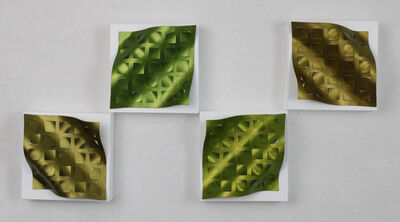 Tracey Meyer, 'What Shapes Us - 28, metallic green sculptures with hints of silver, gold, copper and bronze, quadtych', 2020