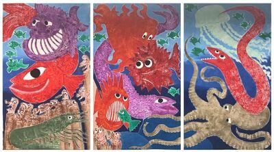 Hervé Di Rosa, 'aquarium - Original carborundum triptych', 2018