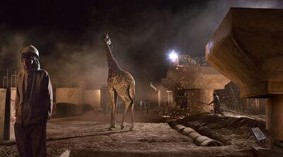 Nick Brandt, 'Bridge Construction with Giraffe & Worker', 2018