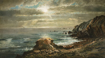 Edmund Darch Lewis, 'Sunlight Through the Clouds Over a Rocky Coast', 1874